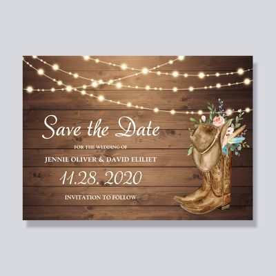 Rustic Boots Floral String Lights Save The Date Cards PWIS006