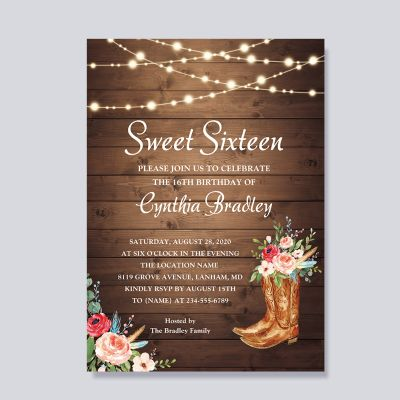 Rustic Boots Cowgirl Sweet Sixteen 16 Birthday Invitation PWIT005