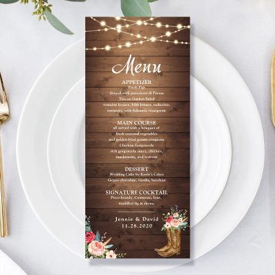 Rustic Boots Cowgirl Western Wedding Menu Card PWIW002