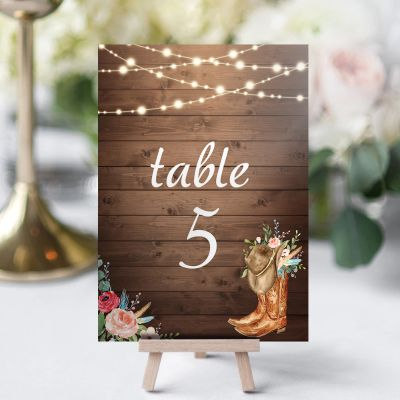 Rustic Boots Cowgirl Western Wedding Table Card PWIW003