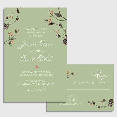 Winter Sage Greenry Wedding Invitation Cards PWIF056