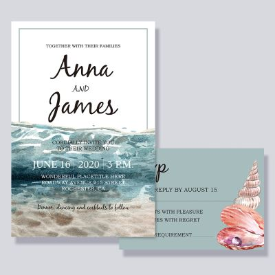 Ocean Beach Style Wedding Invitation Cards PWIF057