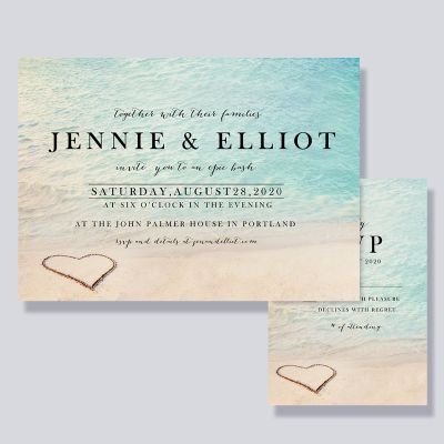 Romantic Heart in the Sand Beach Wedding Invitations PWIF058