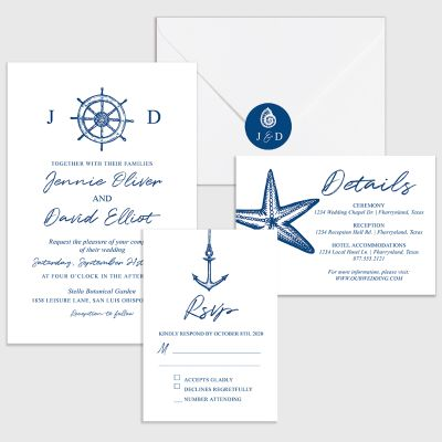 Navy Nautical Wedding Invitation Cards With Custom Round Sticker PWIF059