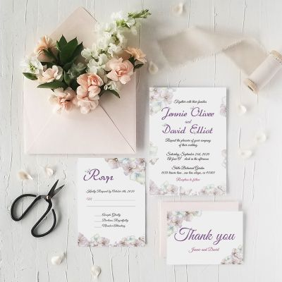 Lilac, Blush and Purple Butterfly Wedding Invitations PWIF061