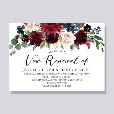 Boho Rustic Flowers Anniversary Vow Renewal Party Invitation PWIV001