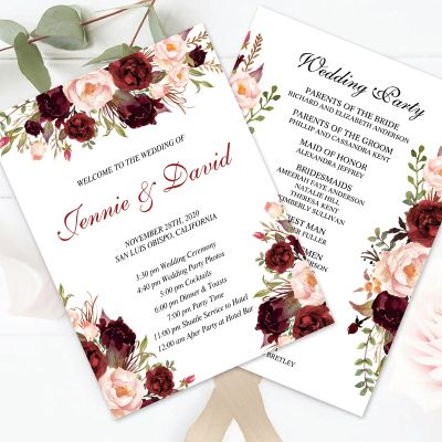 Rustic Boho Marsala Floral Wedding Program Fan PWIW004