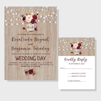 Burgundy Flowers Rustic Wood Mason Jar Wedding Invitations PWIF064