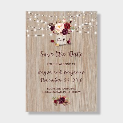 Burgundy Flowers Rustic Wood Mason Jar Save The Date Wedding Card PWIS008