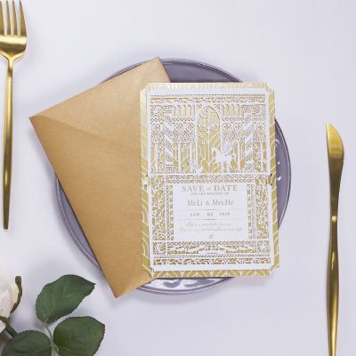 Romantic Gold Foil Laser Cut Save The Date Card PWIS009(Limited Stock! Please Contact Us For Samples)