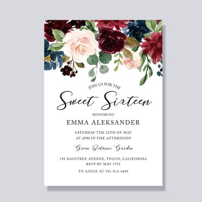 Rustic Flowers Blooms Sweet Sixteen 16 Birthday Invitations PWIT006