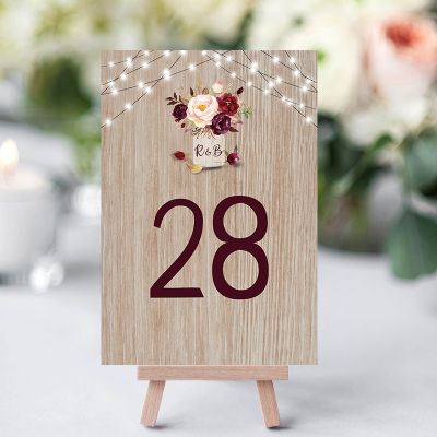 Burgundy Flowers Rustic Wood Mason Jar Wedding Table Card PWIW006