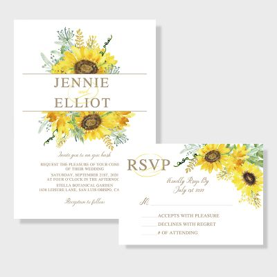 Elegant Watercolor Yellow Sunflower Wedding Invitations PWIF067