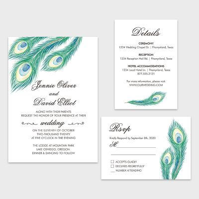 Teal Peacock Feather Wedding Invitation w RSVP PWIF068