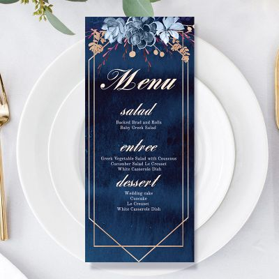 Moody Navy Watercolor Floral Wedding Menu Card PWIW010