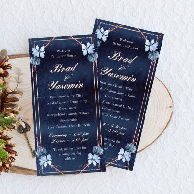 Moody Navy Watercolor Floral Wedding Program Card PWIW012