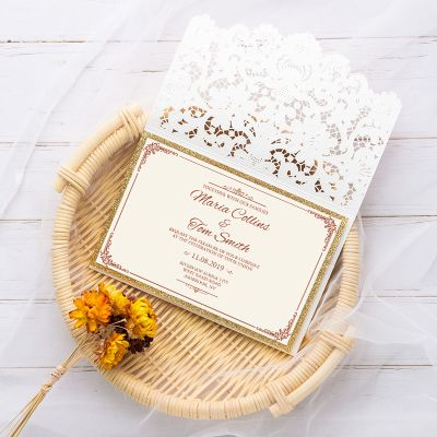 elegant ivory shimmer laser cut wedding invite with gold glittery backer,side pocket and bling rhinestone PWIL016