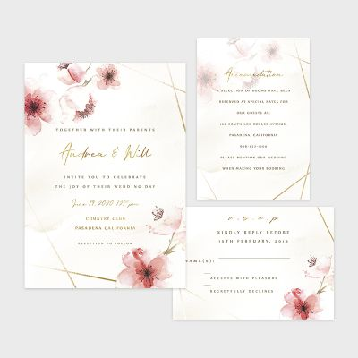 Romantic Cherry Blossom Geometric Wedding Invitations PWIF070