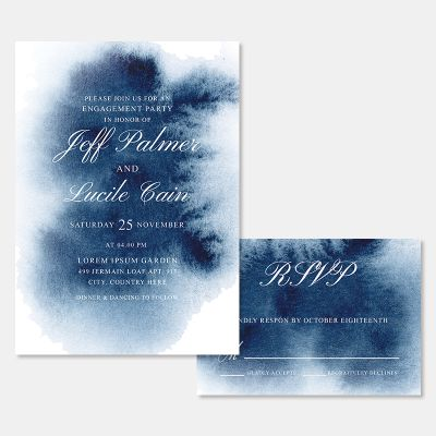 Celestial Watercolor Calligraphy Wedding Invitations PWIF071