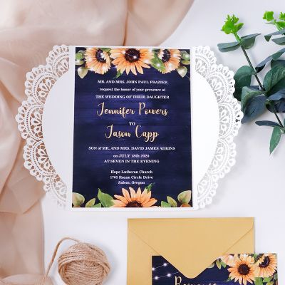 Sunflower and Blue Barn Wood Laser Cut Lace Wedding Invitations PWIL125