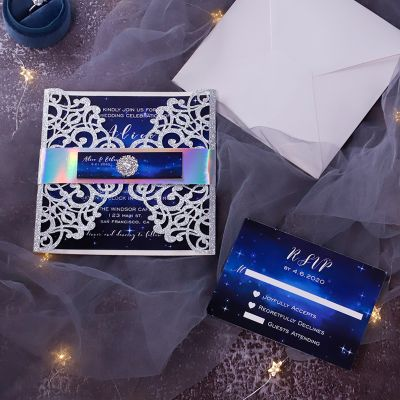 A Night Full of Stars Silver Glitter with Midnight Blue Laser Cut Wedding Invitations PWIL127
