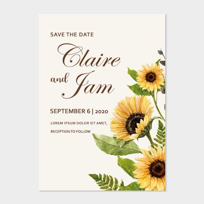Sunflower Rustic Save-the-date Cards PWIS014