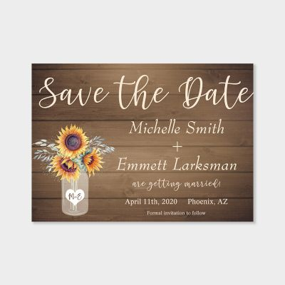 Rustic Sunflower Country Vintage Wood Save the Date PWIS015