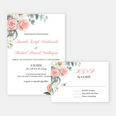 Sage and Blush Watercolor Flowers Invitation for Birthday, Wedding or Shower PWIF073