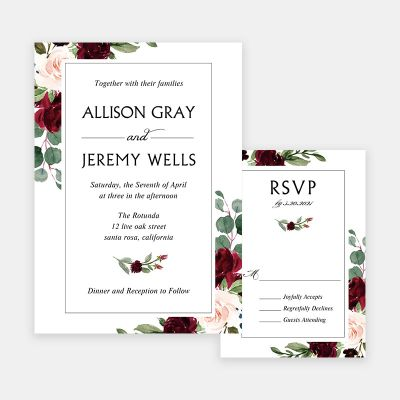 Burgundy Greenery Floral Wedding Invitations PWIF075