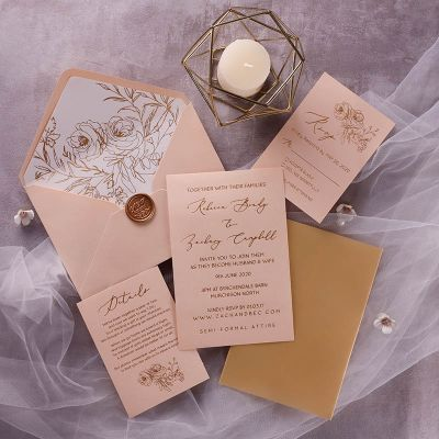 Gold Foil Shimmer Wedding Invitations With Gold Vellum and Glitter Foil Envelope PWIG007
