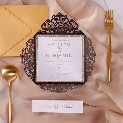 Foiled Gold Luxury Black Laser Cut Wedding Invitations PWIL131