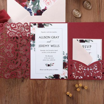 Burgundy Floral Laser Cut Pocket Wedding Invitations PWIL134