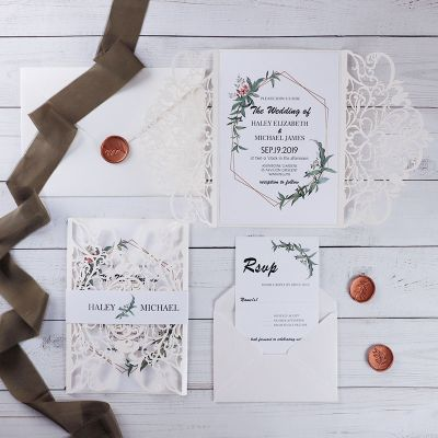 Geometric Greenery Elegant Ivory Laser Cut Wedding Invitation PWIL136
