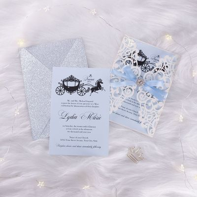 Fairytale Laser Cut Ribbon & Pearl Brooch Quincea?era 15 Birthday Invitations PWIQ008