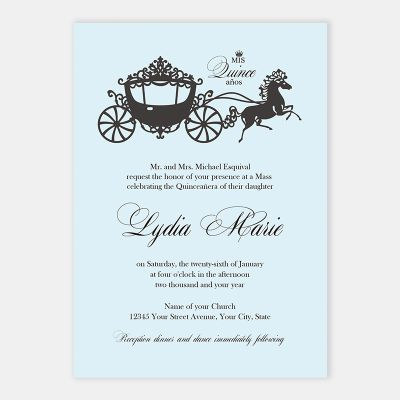 Fairytale Carriage Blue Quincea?era 15 Birthday Invitations PWIQ009