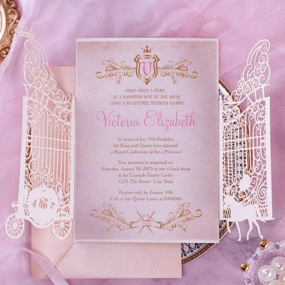 Princess Pumpkin Carriage Quinceanera Sweet 16 Laser Cut Invitation PWIQ011