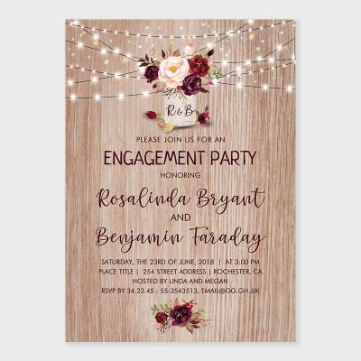 Burgundy Flowers Rustic Wood Mason Jar Engagement Party Invite PWIE003