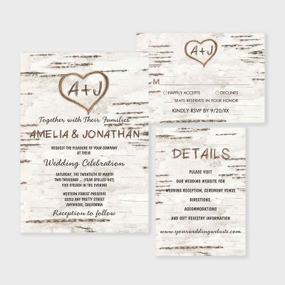 Country Rustic Birch Tree Bark Wedding Invitations PWIF076