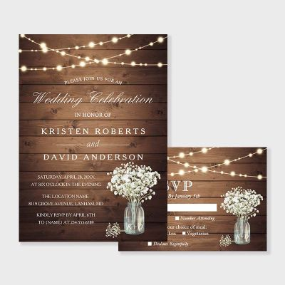 Baby's Breath Mason Jar Rustic Wedding Invitation PWIF077