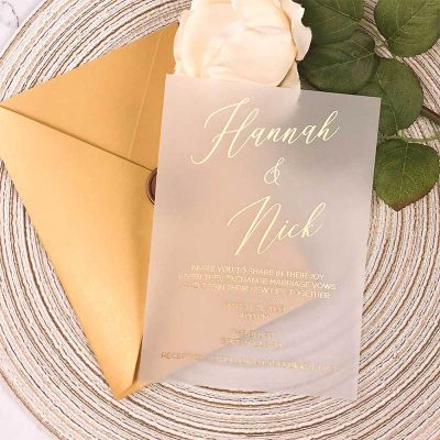 Gold Foil Script on Vellum Paper Invitation PWIG008