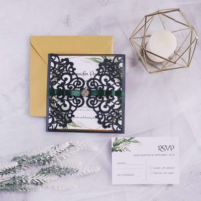 Shimmer Black Laser Cut Wedding Invitations With Green Geometric Style PWIL143