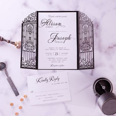 Graceful Gate Design Laser Cut Wedding Invitation with Fancy Calligraphy Wording PWIL146