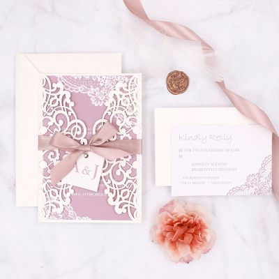 Elegant Ivory Laser Cut Invitation With Background In Mauve Colors PWIL151