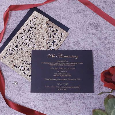 Luxury Wedding Anniversary Black & Gold Glittery Laser Cut Invitations PWIL152