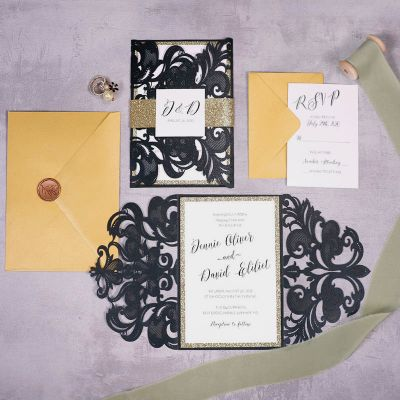 Modern Laser Cut Black & Gold Wedding Invitations PWIL157