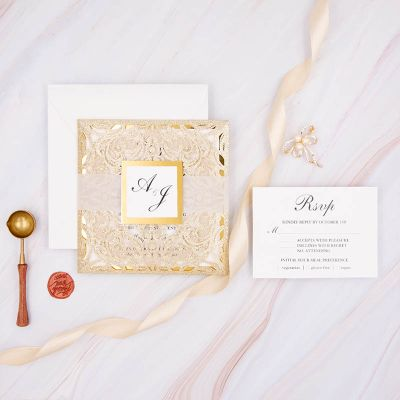 Elegant and Luxury Gold Glitter Wedding Invitations PWIL159