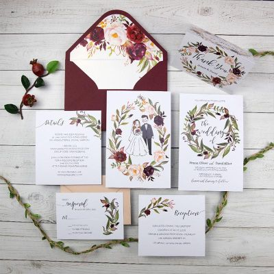 Marsala Burgundy Blush Watercolor Floral Wedding Invitation Cards PWIM018
