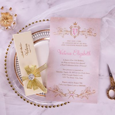 Fairytale Gold Foil Boxed Scrolls Quinceanera Sweet 16 Invitation PWIQ012 (Limited Stock! Please Contact us for samples)