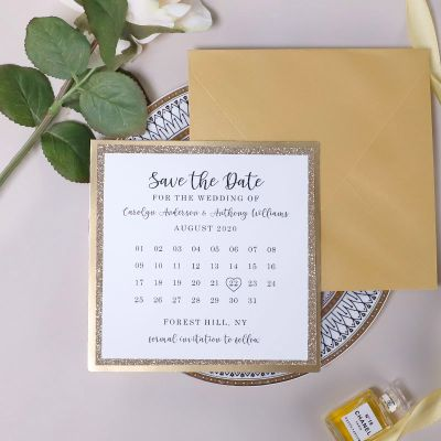 Gold Mirror And Rose Gold Glitter Layered Calender Save The Date Cards PWIS022