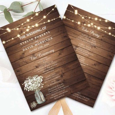 Baby Breath Lightstring Wooden Rustic Wedding Program Fan PWIW014